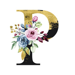 Floral gold alphabet, letter p with watercolor flowers and leaves. Monogram initials perfectly for wedding invitation, birthday, greeting card and other design. Holiday design hand painting.