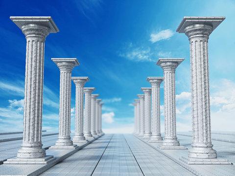 Ancient ruins of Greek pillars against blue sky. 3D illustration