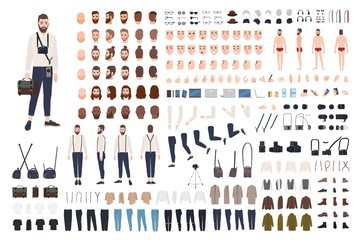 Photographer or photo journalist constructor kit or DIY set. Collection of body parts, clothes, professional equipment. Male cartoon character. Front, side, back views. Flat vector illustration. Fototapete