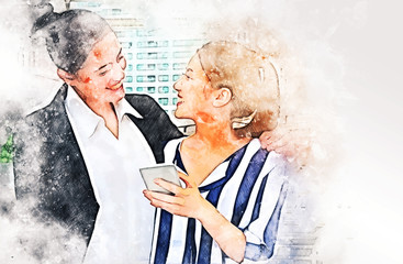 Beautiful two business women happy and playing mobile phone on walking street on watercolor illustration painting background.