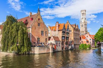 Wall Murals Bridges Bruges, Belgium. The Rozenhoedkaai canal in Bruges with the Belfry