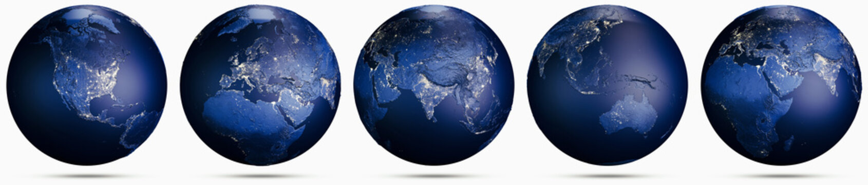 Planet Earth city lights globe set
