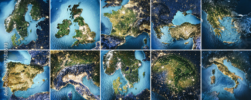 Wall mural Planet Earth topography map set