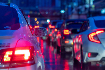 Colorful blurred abstract background from traffic jam on the road.