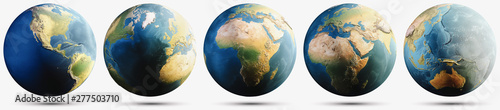 Wall mural Planet Earth white isolated with shadow set