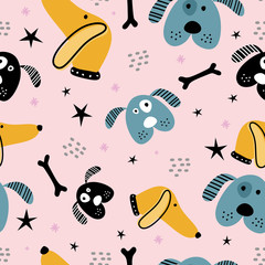 Childish seamless pattern with hand drawn dogs. Trendy scandinavian vector background. Good for textile print decoration.