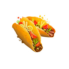 Mexican tacos, taco with beef, vegetables rolled in pita isolated on white background. Street food, take-away, takeout. Fast food hand drawn digital illustration. Graphic clipart design for web print.