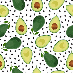 Avocado seamless pattern whole and sliced on white background, Fruits vector illustration