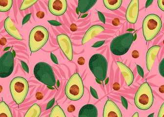 Avocado seamless pattern whole and sliced on pink palm leaves background. Summer background. Fruits vector illustration