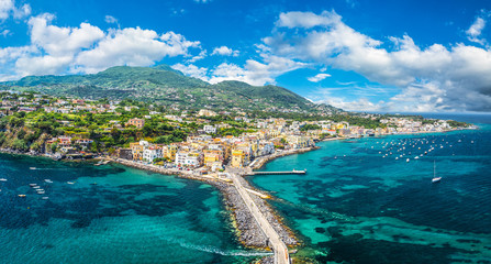 Wall Mural - Landscape with Porto Ischia, view on Aragonese Castle, Ischia island, Italy