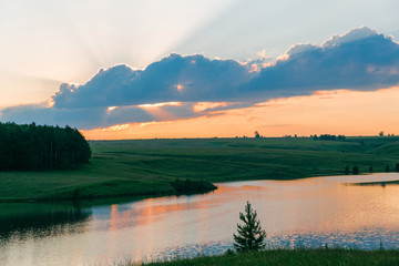 Fototapete - Sunset on the lake. Beautiful peaceful landscape.
