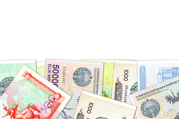 some Uzbek Som banknotes indicating growing economy with copyspace