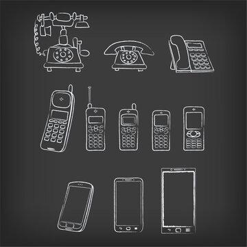 phone evolution hand-drawn illustration