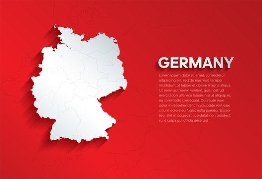 Germany Map with shadow. Cut paper isolated on a red background. Vector illustration.