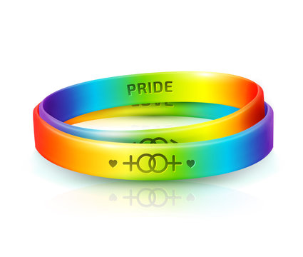 LGBT Pride concept. Rainbow rubber bracelets for homosexual people. Silicone wristbands with symbols of gender: Lesbian and Gay. Day of bisexuality and International Day for Tolerance poster