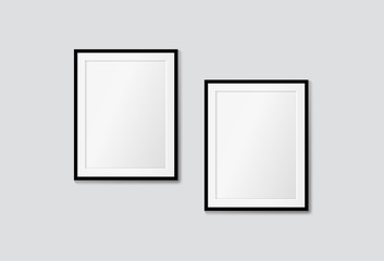 Vector modern frames on a white wall. Galery mock up