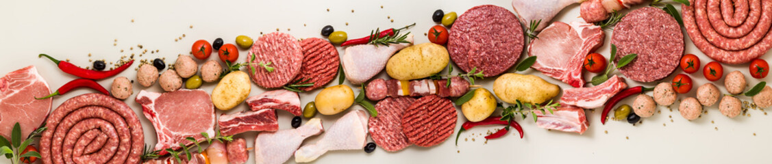 various types of italian raw meat with spices, vegetables and aromatic herbs. banner for supermarket or butcher Wall mural