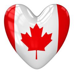 Canada flag heart. 3d rendering.