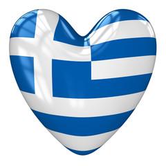 Greece flag heart. 3d rendering.