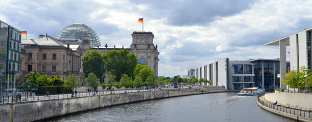 Berlin, Germany german Reichstag and Bundestag architecture view over the river Spree