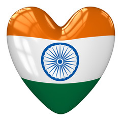 India flag heart. 3d rendering.