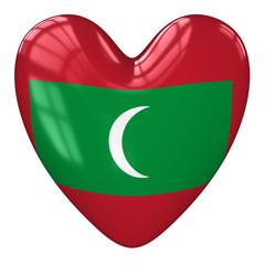 Maldives flag heart. 3d rendering.