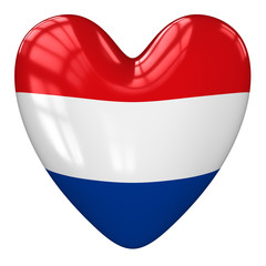 Netherlands flag heart. 3d rendering.