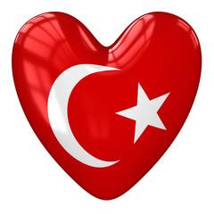 Turkey flag heart. 3d rendering.