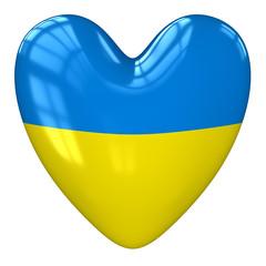 Ukraine flag heart. 3d rendering.