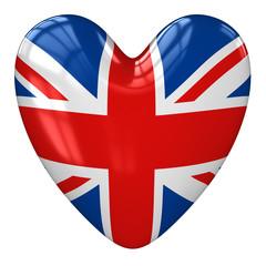 United Kingdom flag heart. 3d rendering.