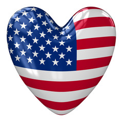 United States flag heart. 3d rendering.