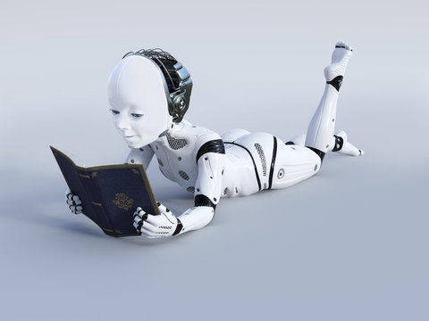 3D rendering of robotic child reading a book.