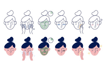 Girl take care about her face. Instructions for facial care. Step by Step Instruction How To Use Cosmetic Mask. Set of linear and flat vector illustration
