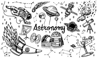 Astronomy background in vintage style. Space and cosmonaut, moon and spaceships, meteorite and stars, planets and observatory. Hand drawn in retro doodle style.