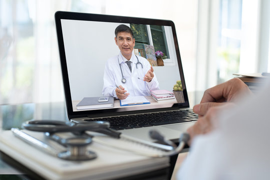 Doctor on video conference