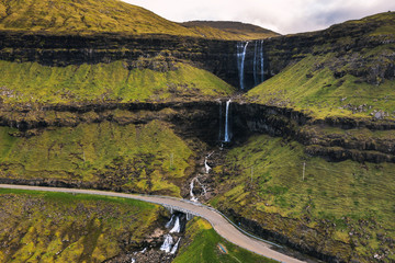 Wall Mural - Aerial view of the Fossa Waterfall on island Bordoy in the Faroe Islands