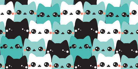 Vector seamless pattern. Colorful hand drawn cats. Abstract art background. Animals collection. Cute kittens.