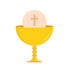 Chalice with an hostia isolated on white background. Golden chalice for Christian. Vector stock.