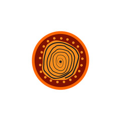 Aboriginal art dots painting icon logo design template