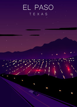 El Paso modern vector poster. ElPaso, Texas landscape illustration.Top 30 most populated cities of the USA.
