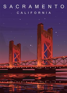 Sacramento modern vector poster. Sacramento, California landscape illustration. Top 30 most populated cities of the USA.