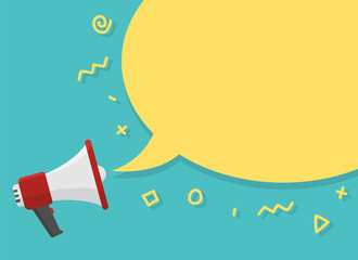 red megaphone with place for text in yellow dialog speech bubble vector illustration. loudspeaker for advertising, promotions, sales, messages. flat illustration on green background