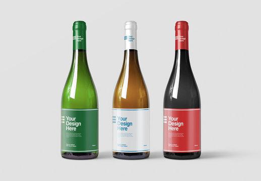 3 Wine Bottles Packaging Design Mockup