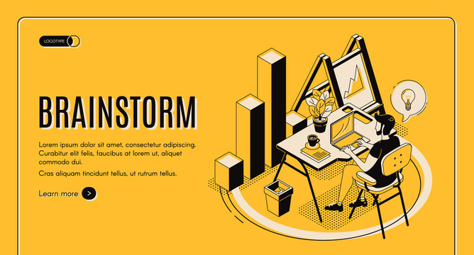 Brainstorm isometric landing page. Man sitting at desk, working on laptop, searching idea. IT company, business startup, online service for effective brainstorming 3d vector illustration, banner, line