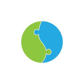 puzzle logo vector icon template