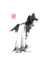 Waterfall with fir trees Japanese style sumi-e painting.