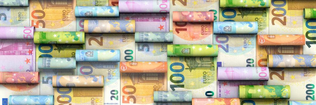 Hintergrund aus aufgerollten Euroscheinen
