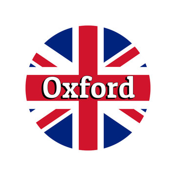 Round button Icon of national flag of United Kingdom of Great Britain. Union Jack on the white background with lettering of city name Oxford. Inscription for logo, banner, t-shirt print.
