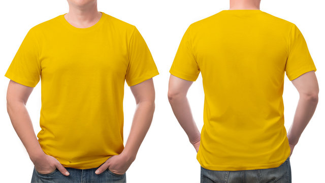 close up yellow t-shirt cotton man pattern isolated on white.