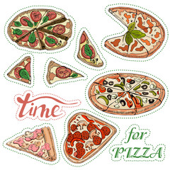 Sticker pack with whole and sliced  pizza. Hand drawn ink  and colored sketch. Perfect for leaflets, cards, posters, prints, menu, booklets, labels.